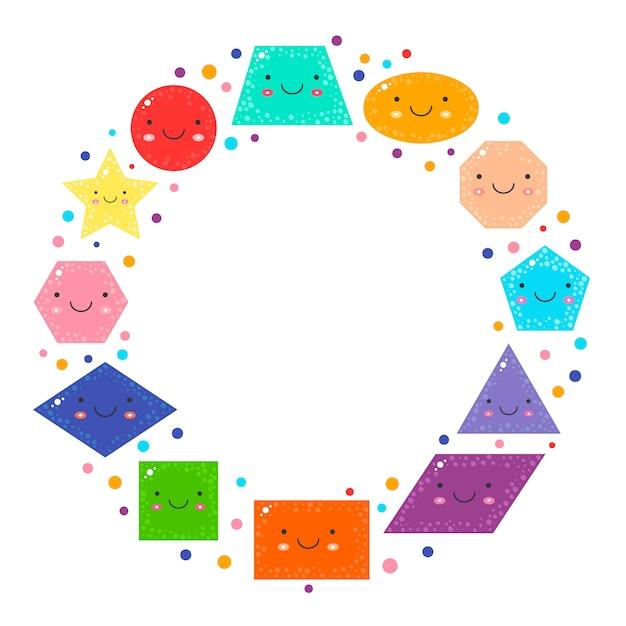Schattige geometrische figuren voor kinderen instellen Premium Vector