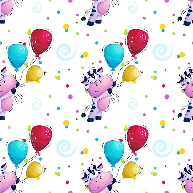 Schattige gestreepte zebra vliegen met ballonnen patroon Premium Vector