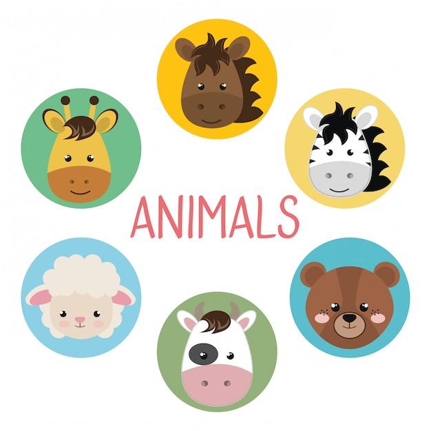Schattige groep hoofd dieren karakters Gratis Vector