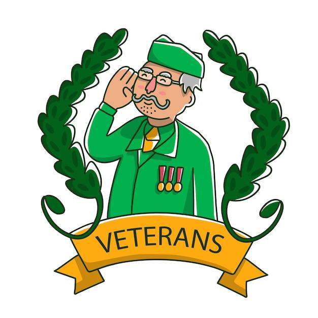 Schattige grootvader veteranen Premium Vector