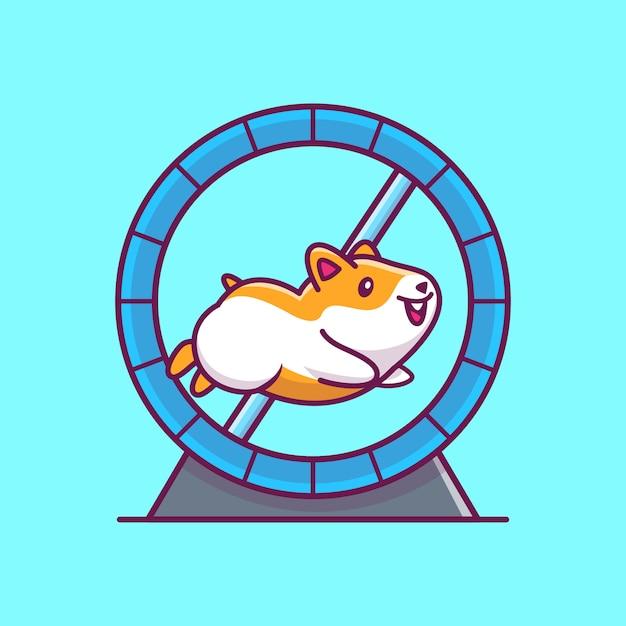 Schattige hamster met pictogram illustratie. hamster mascotte stripfiguur. dierlijke pictogram concept geïsoleerd Premium Vector
