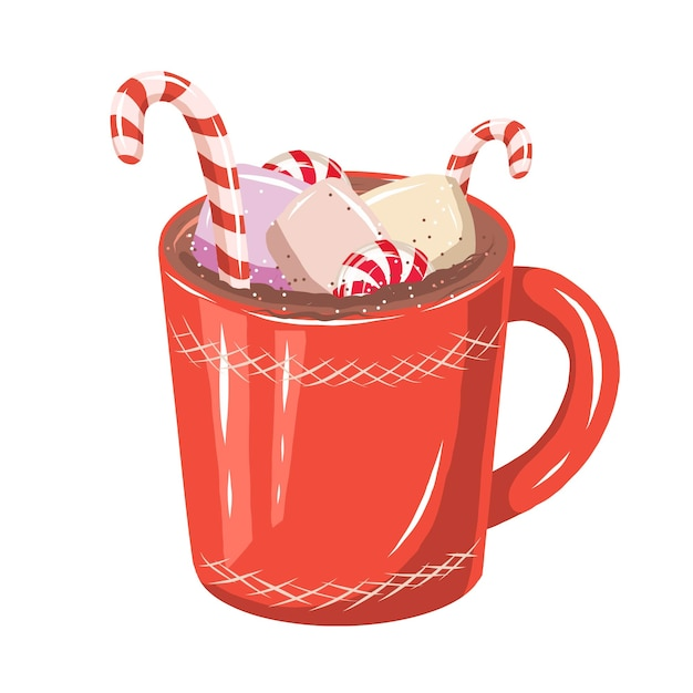 Schattige hand getrokken rode kop cacao met snoepjes en marshmallows Premium Vector