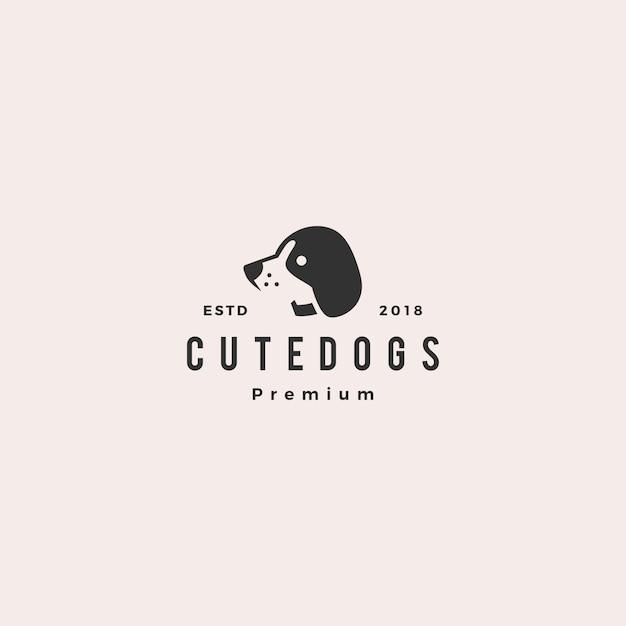 Schattige hond huisdier puppy-logo Premium Vector