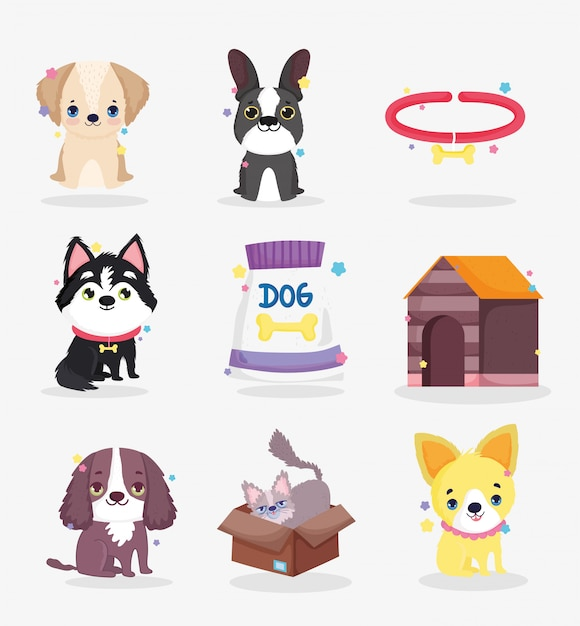 Schattige honden puppy voedsel kraag huis binnenlandse cartoon dier, collectie huisdieren Premium Vector