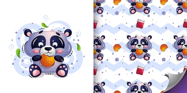 Schattige hongerige pandabeer zit en eet koekjes. Premium Vector