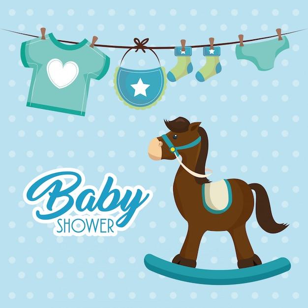 Schattige houten paard baby douche kaart Gratis Vector