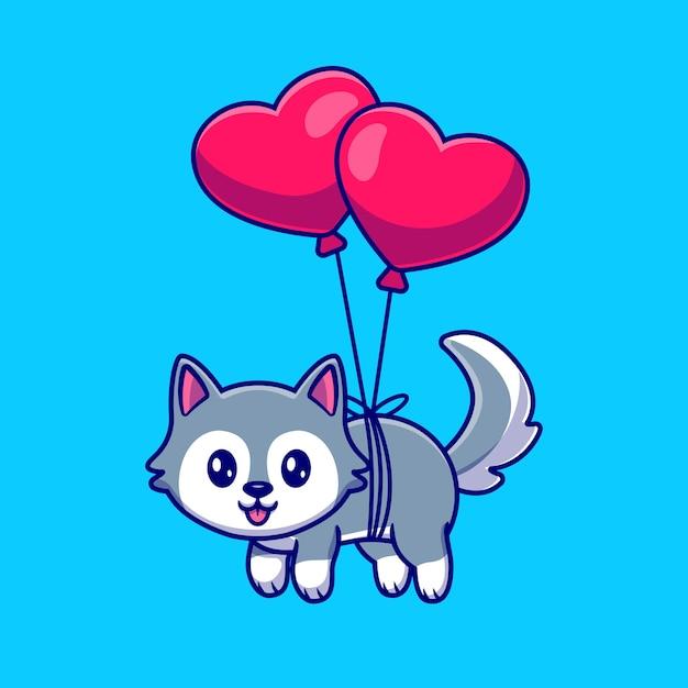 Schattige husky hond drijvend met hart ballon cartoon vectorillustratie pictogram. Gratis Vector