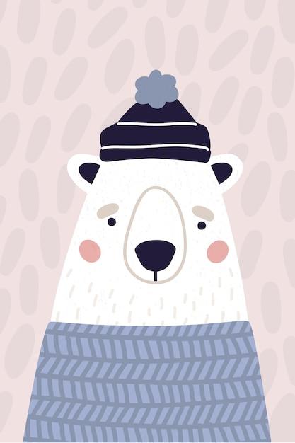 Schattige ijsbeer in hoed en trui. verticale wenskaart in pastelkleuren. kleurrijke vectorillustratie voor briefkaart in cartoon stijl. Premium Vector