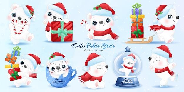 Schattige ijsbeer ingesteld voor kerstdag met aquarel illustratie Premium Vector