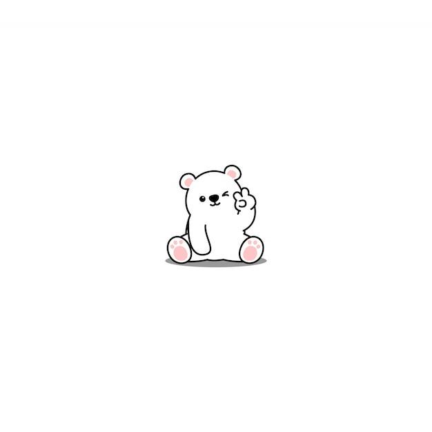 Schattige ijsbeer knipogen oog cartoon icoon Premium Vector