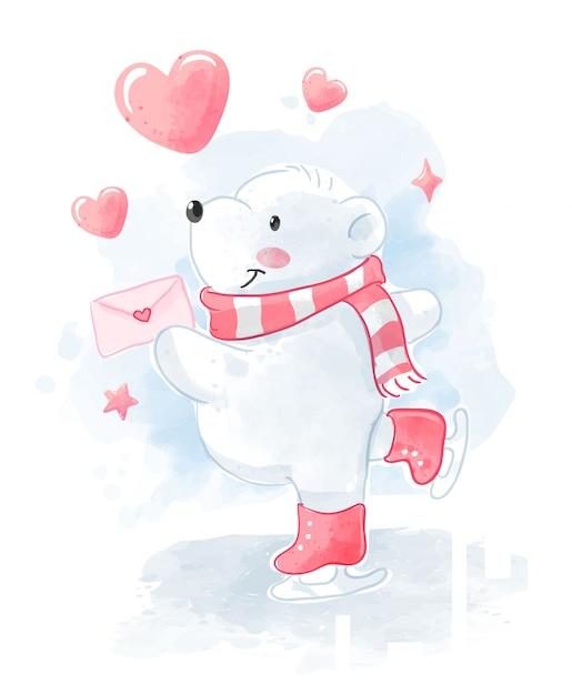 Schattige ijsbeer met liefdesbrief schaatsen illustratie Premium Vector