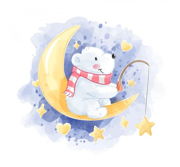 Schattige ijsbeer zittend op de maan illustratie Premium Vector