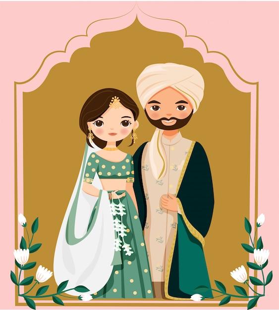 Schattige indiase bruid en bruidegom in klederdracht cartoon Premium Vector