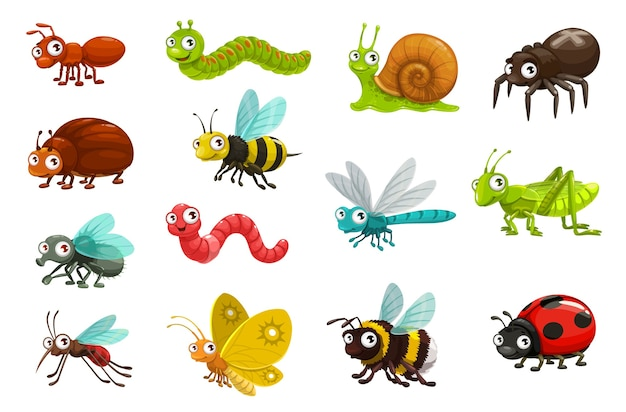 Schattige insecten en insecten stripfiguren. Premium Vector