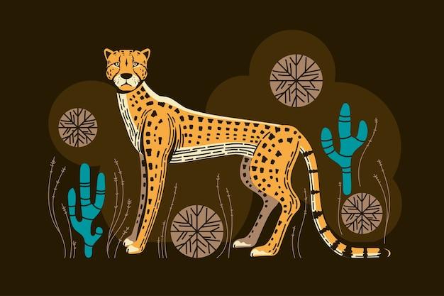 Schattige jachtluipaardjacht met spinifex grass and cactus illustration Premium Vector