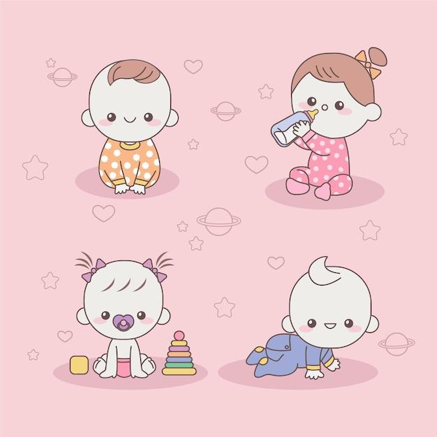 Schattige japanse kawaii baby's Gratis Vector