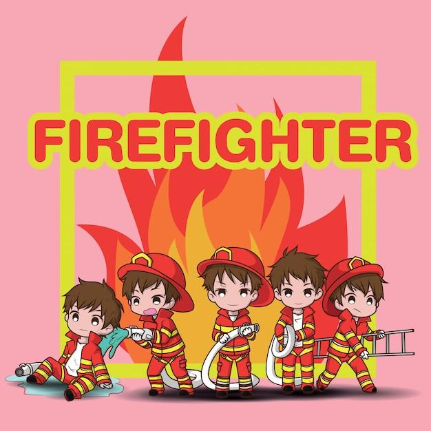 Schattige jonge jongen cartoon brandweerman instellen instellen Premium Vector