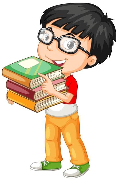 Schattige jonge jongen stripfiguur met boeken Gratis Vector