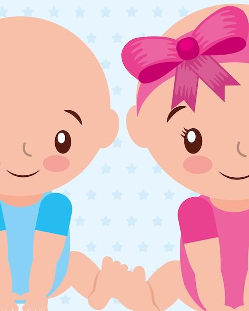 Schattige jongen en gir baby tekens vector illustratie Premium Vector