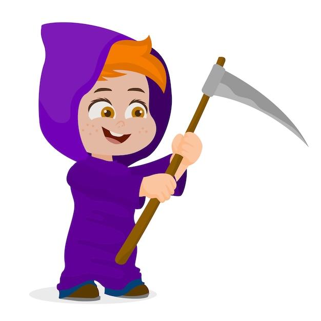 Halloween Kostuum Magere Hein.Schattige Jongen Halloween Teken In Magere Hein Kostuum