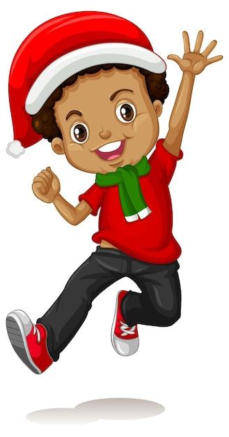 Schattige jongen in kerst kostuum stripfiguur Gratis Vector