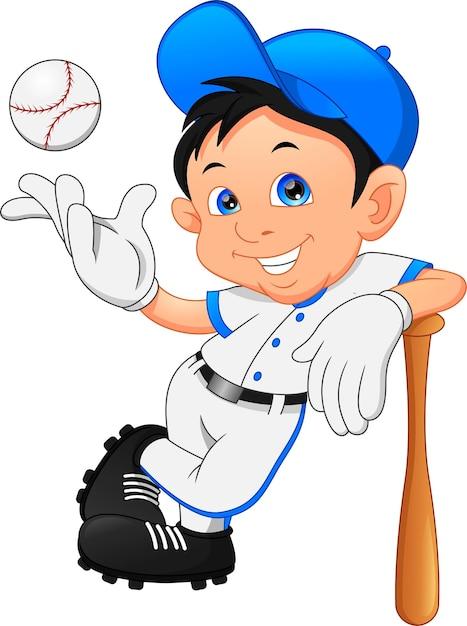 Schattige jongen softbal speler poseren Premium Vector