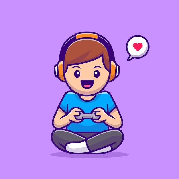 Schattige jongen spelen spel cartoon vectorillustratie. mensen technologie concept geïsoleerd. flat cartoon stijl Premium Vector