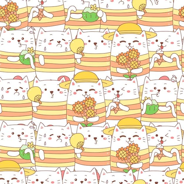 Schattige kat cartoon naadloze patroon voor de zomer. Premium Vector