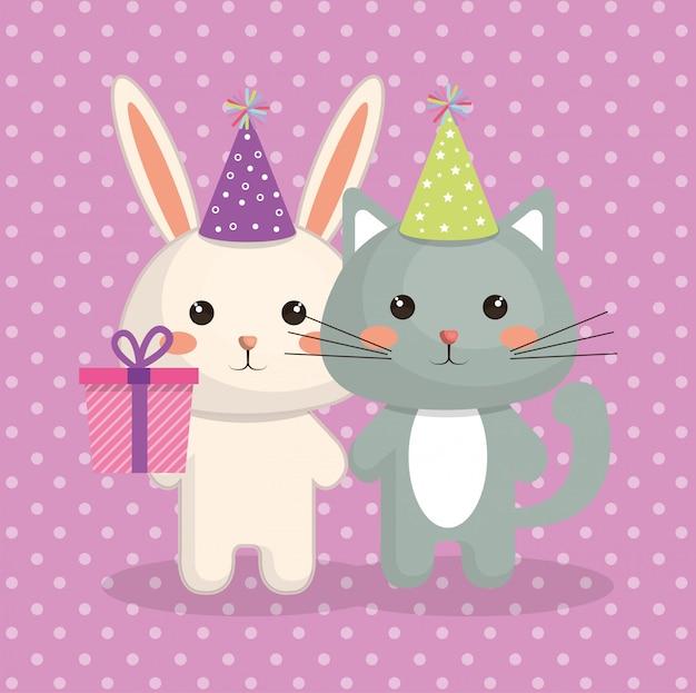 Schattige kat en konijn zoete kawaii karakter verjaardagskaart Gratis Vector