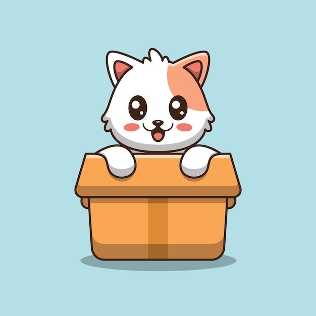 Schattige kat in vak pictogram illustratie Premium Vector