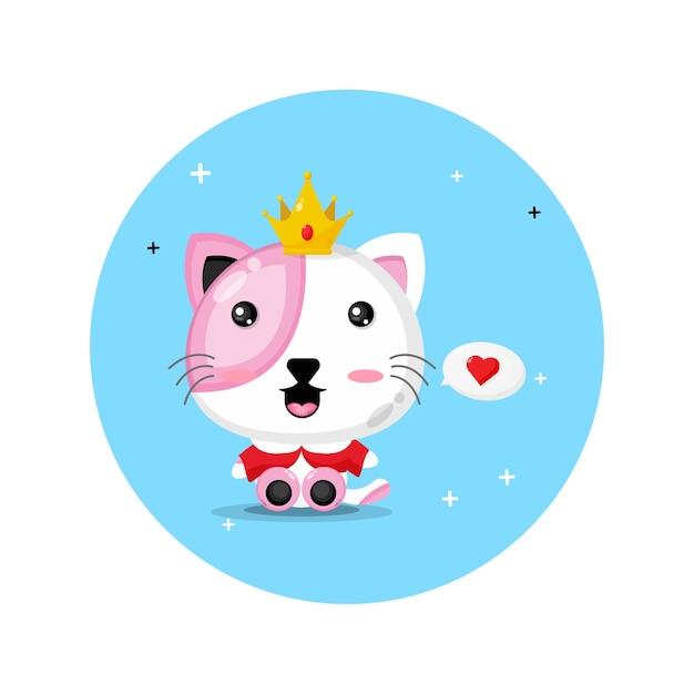 Schattige kat koning ontwerp Premium Vector