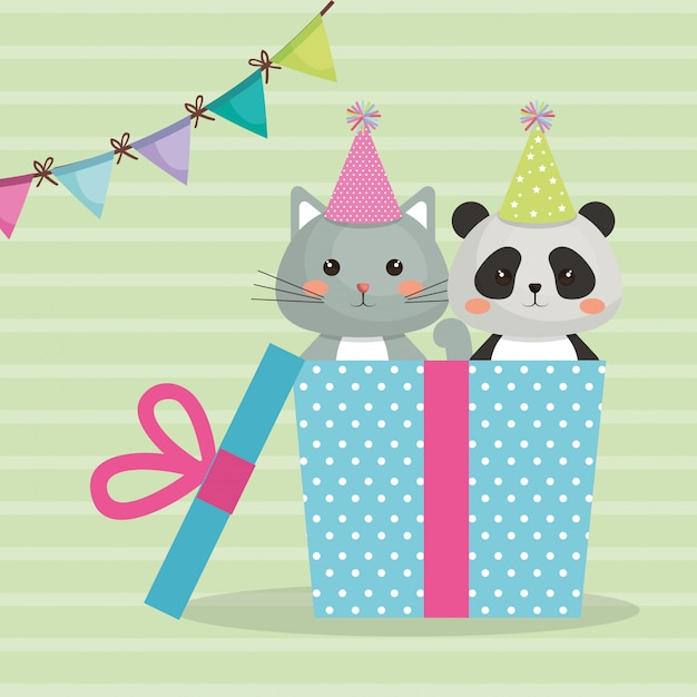 Schattige kat met beer panda zoete kawaii karakter verjaardagskaart Gratis Vector