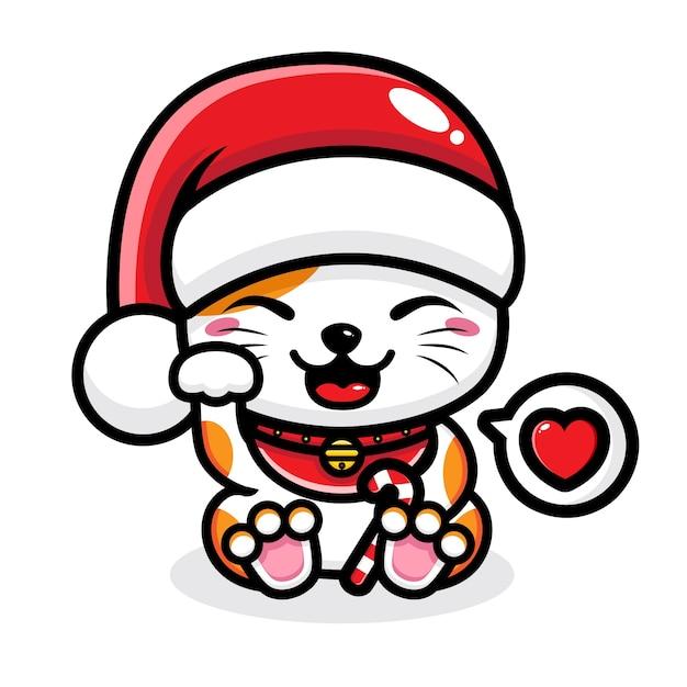 Schattige kat met kerstmuts Premium Vector
