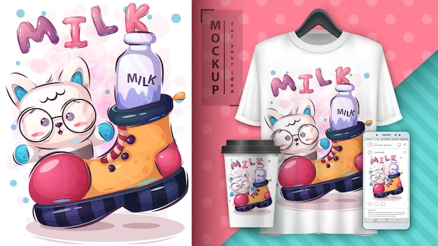 Schattige kat poster en merchandising Gratis Vector