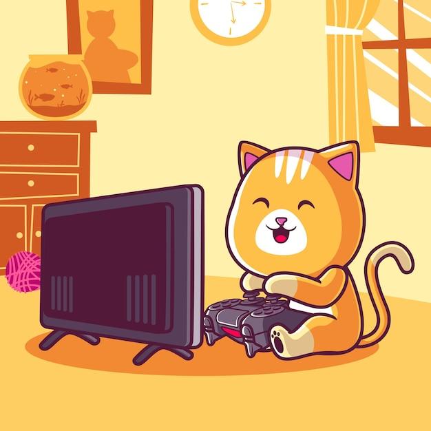 Schattige kat spelen videogame cartoon afbeelding Premium Vector