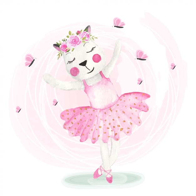 Schattige katten dansen met bloemkronen Premium Vector