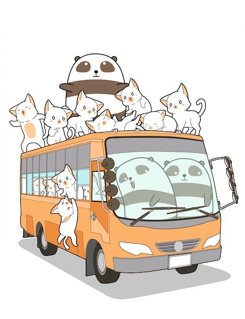 Schattige katten en panda en bus in cartoon stijl. Premium Vector