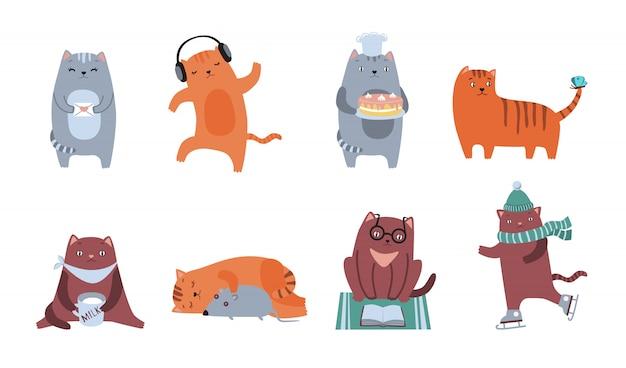 Schattige katten icon kit Gratis Vector