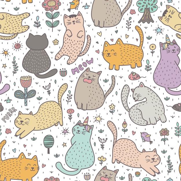 Schattige katten in de zomer naadloze patroon Premium Vector
