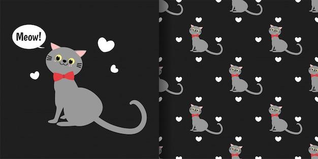 Schattige katten met kleine harten naadloze patroon op zwarte achtergrond. Premium Vector