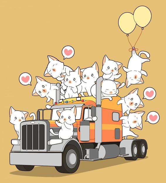 Schattige katten op de vrachtwagen in cartoon stijl. Premium Vector