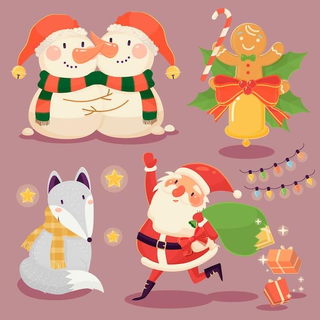 Schattige kerst elementen collectie in platte ontwerpstijl Premium Vector