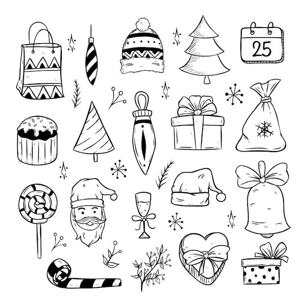 Schattige kerst iconen of elementen met doodle kunst Premium Vector