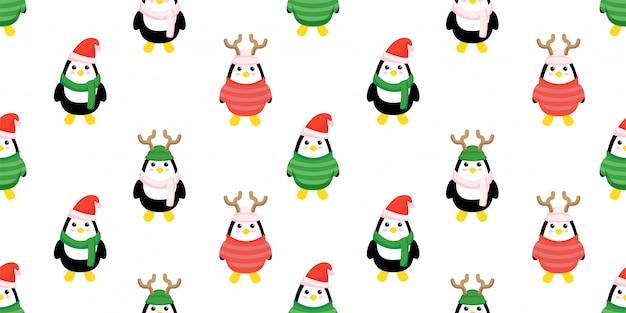 Schattige kerst pinguïn naadloze patroon set Premium Vector