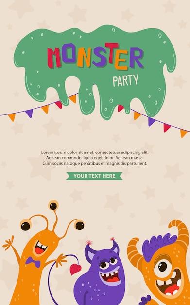 Schattige kinder poster met monsters in cartoon stijl. uitnodiging voor feestje sjabloon met grappige karakters. wenskaart voor een vakantie, verjaardag. Premium Vector