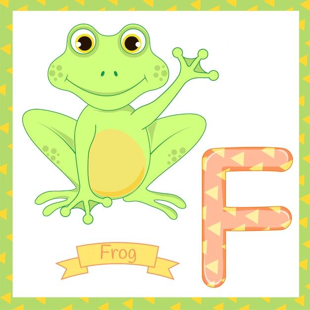 Schattige kinderen dierentuin alfabet f letter tracing van frog eten vliegen voor kinderen leren engels vocabulaire Premium Vector