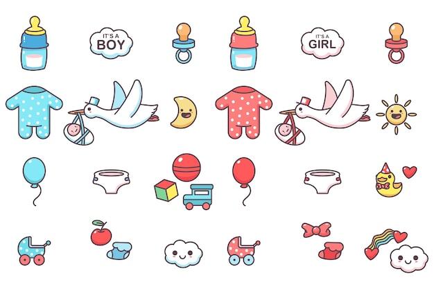 Schattige kinderen elementen voor baby shower party vector cartoon set geïsoleerd op een witte ruimte. Premium Vector