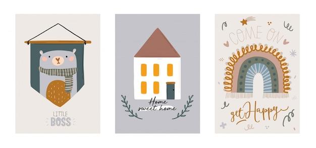 Schattige kinderen scandinavische tekenset inclusief trendy citaten en coole, dierlijke decoratieve handgetekende elementen. cartoon doodle illustratie voor babydouche, kinderkamer inrichting, kinderen Premium Vector