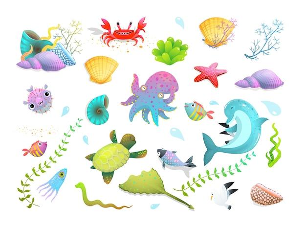 Schattige kinderen zeedieren set: dolfijn, zeester, vissen en inktvis, krab en andere grappige onderwaterwezens. tekenfilm. Premium Vector