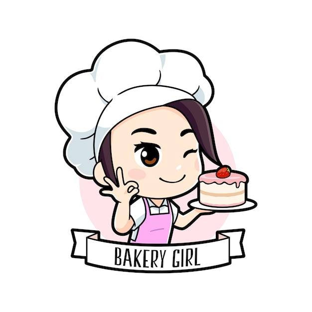 Schattige kleine bakkerij chef-kok meisje logo Premium Vector